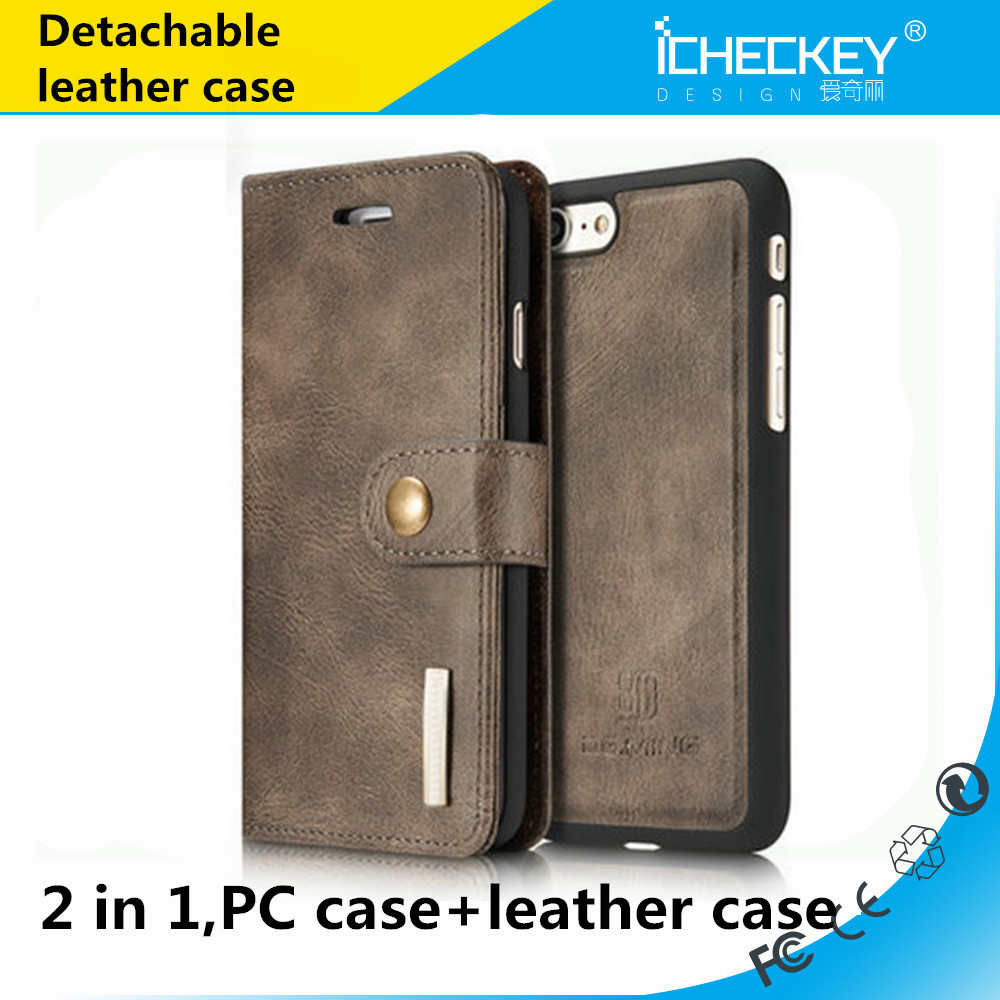Multi Function Detachable PU cow Leather Case Wallet with Card Slot Case for Iphone 7