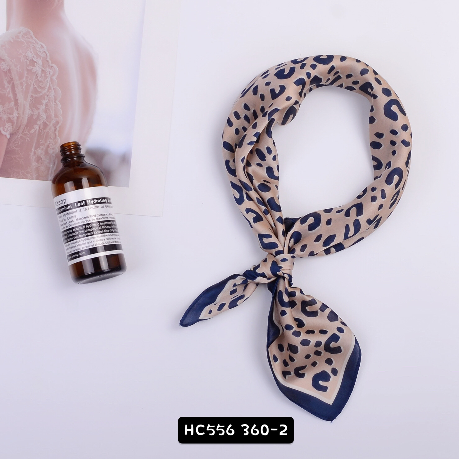 Custom Leopard Printing Personalized Polyester Silk Satin Square Scarf