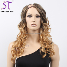 Hot Sale Stunning Natural Long Curly Mixed Color Malaysian Cheap Synthetic U Part Wigs For Sale