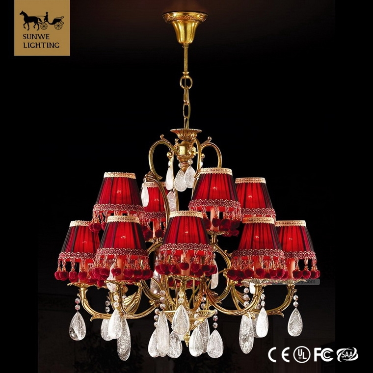 Guangzhou Rococo 12 Lights Red wedding centerpiece Lampshade Bronze wholesale crystal chandeliers
