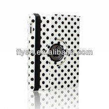 white polka dot 360 Rotating PU Wake/Sleep Leather Case Skin Cover for Apple Ipad Air 5 5th Gen