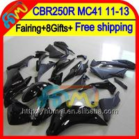 8Gifts For HONDA ALL Black Injection CBR250R MC41 11-13 61HM15 CBR 250R CBR250 R Glossy black 11 12 13 2011 2012 2013 Fairing
