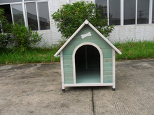 wood dog kennels with brown roof