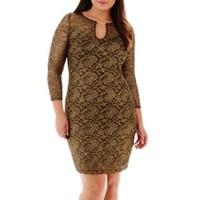 2015 Plus Size Ladies Long Sleeve Metallic Lace Dress
