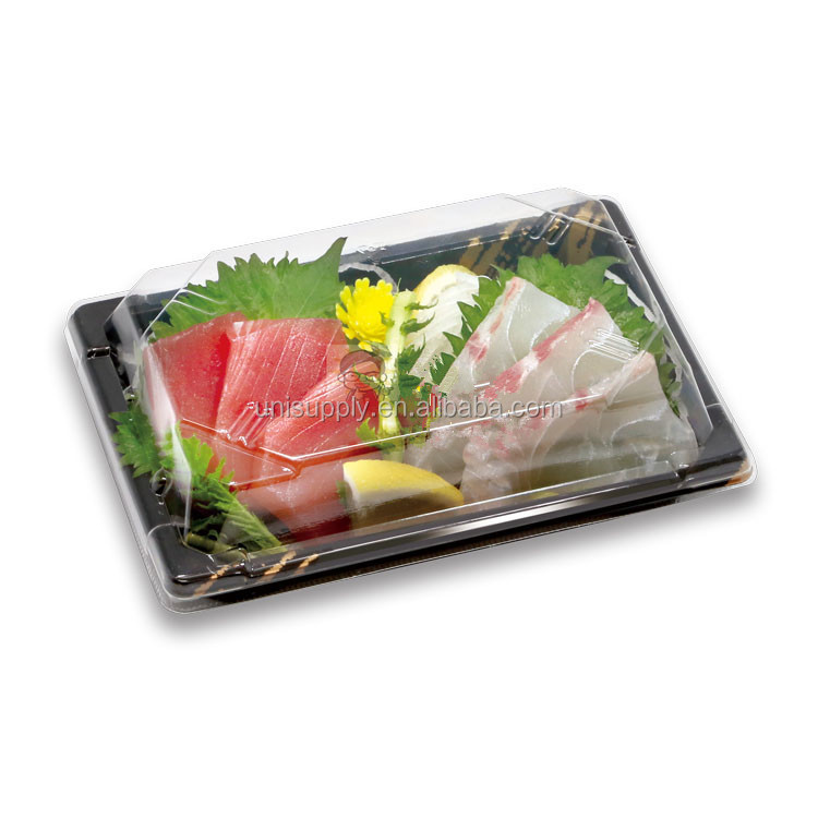 OPS Plastic Disposable Embossing Sushi Box Container Tray with Clear Lid