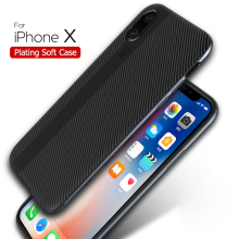 Luxury Carbon Fiber Stripe Electroplated Soft TPU+PC Cover Back Case For iPhone X 8 7 6 plus