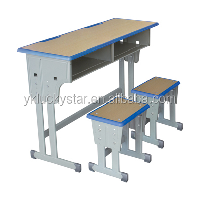 Adjustable/Casing Lifting Wooden Boards with Plastic Banding Double School Desk and Chair/Stool for Students/School Furniture