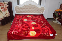 alibaba china 100% polyester embossing raschel blankets for bedding