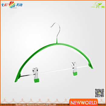 Newworld Metal PVC Coated Hanger for Suit And Pant With Clips