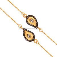 Handmade Antique Rose Cut Pave Diamond Necklace, Gold Vermeil Silver Chain Necklace Jewelry