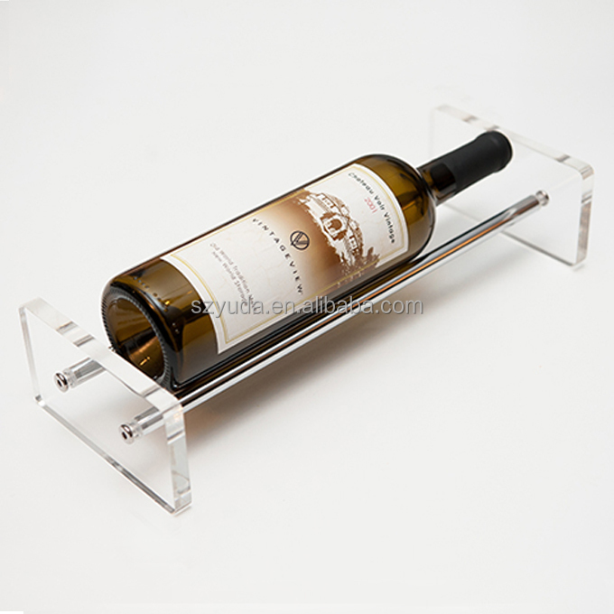 Single One Beer Holder Rack Lucite Clear Acrylic Lying Flat Wine Bottle Display Stand With Thin Steel Tube