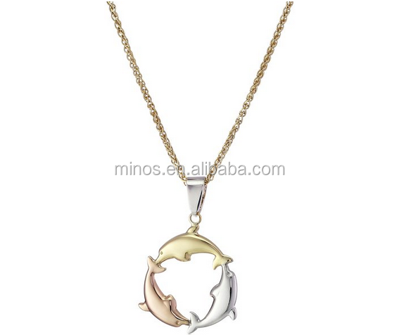 14k Tri Color Bonded Gold and Silver Dolphin Pendant Necklace for Women