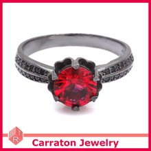 Good Plating Lab Created Red Ruby Solid Silver Black Ring