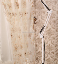 American style curtain design 100% polyester organza embroidery voile lined rod pocket curtain