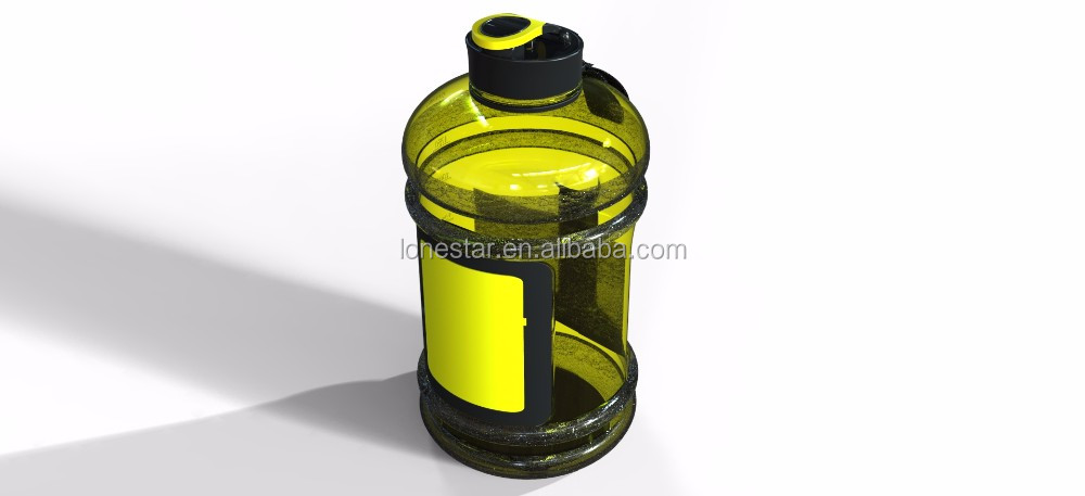2.5L Big Body Building Gym Sports Bottle,Shatterproof BPA free 2.2L PETG Water Bottle with Handle yellow color