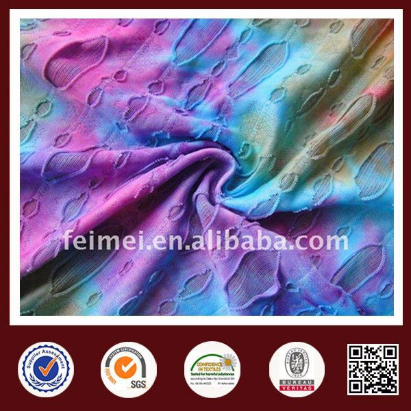 2015 feimei poly jacquard dyed iridescent silk 4 way stretch woven fabric