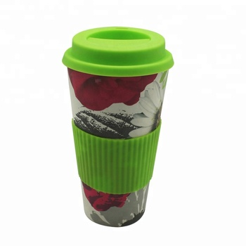 Eco-Freindly Feature travel mug biodegradable bamboo fibre cup with silicone lid and sleeve