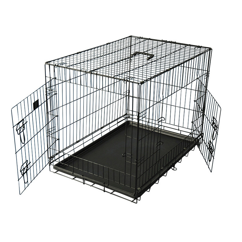 double doors folding metal wire dog kennel with metal tray manufacturer