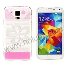 For Samsung Galaxy S5 Case,Printing Flowers Plastic Back +Transparent TPU Case for Samsung Galaxy S5 I9600 G900