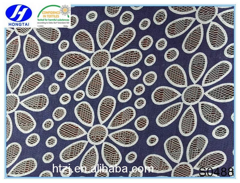 burnt-out african swiss floral lace encaje from china beaded embroidered fabrics