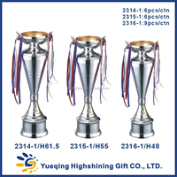 Wholesale metal trophy base ping-pong silver trophy award memento golden souvenir 2314-1 metal trophy China