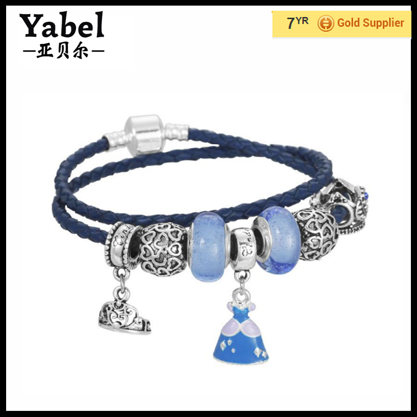 Alibaba Express Newest Handmade Jewelry Cinderella Dress European Murano Glass Charms Beaded Fashion Genuine Leather Bracelet