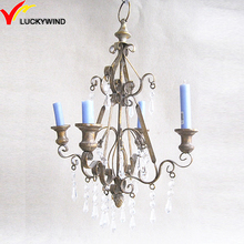 antique gold wall hanging metal candelabra with crystal decoration
