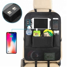 Backseat car seat organizer bag,car boot pocket organizer with 4 USB charger socket