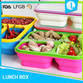 Wholesale silicone material lunch box with cutlery set