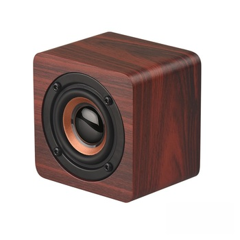 Mini Wooden BT Speaker Portable Wireless Subwoofer Sound Box Music Cube