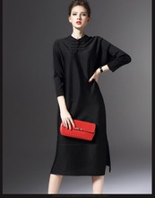 Retro long dress with buttons women clothing wholesale ( Black )