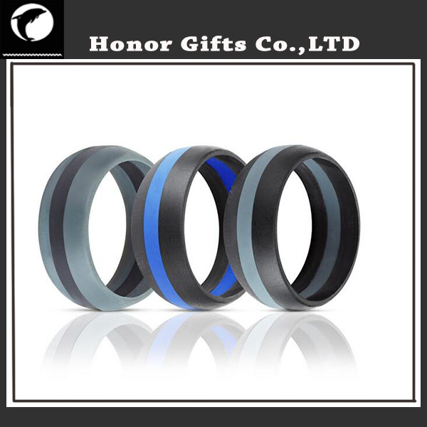 Amazon Popular Three Layer Middle Line Food Grade Medical Silicone Wedding Rings
