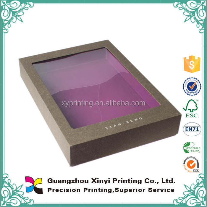 OEM production fancy paper window lid clear pvc gift boxes