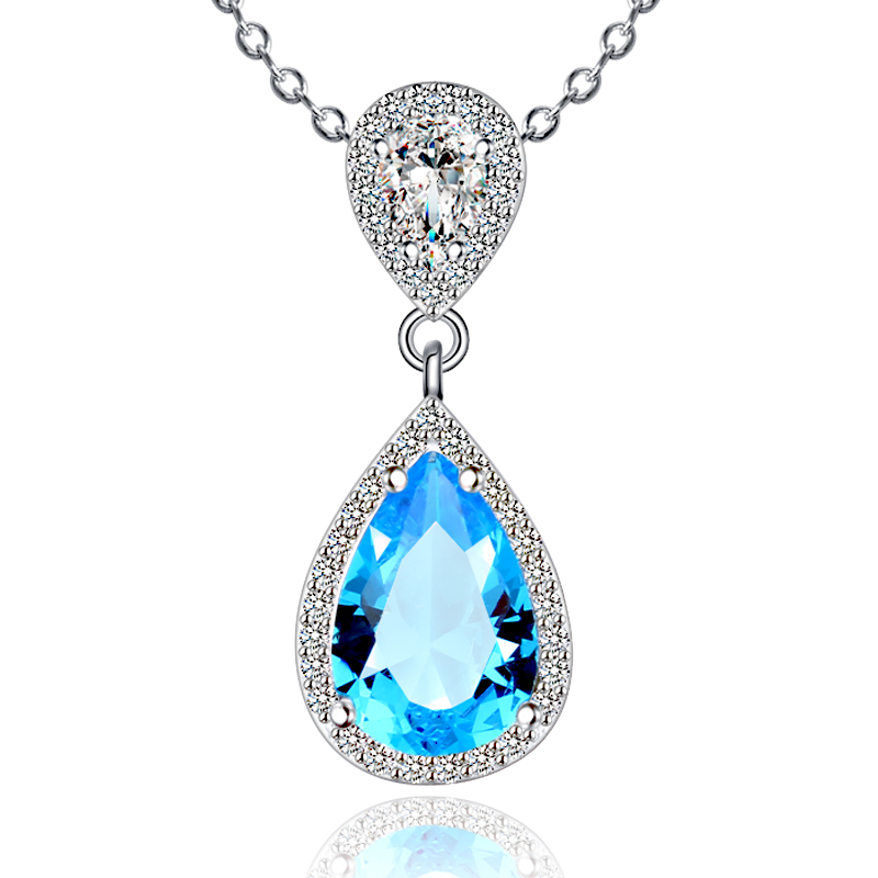 Popular European Sapphire Blue Gemstone 925 Sterling Silver Jewelry Pendant Necklaces for Women