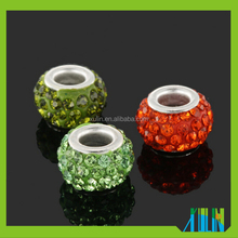 retail and wholesale big hole in middle polymer clay with AAA rhinestone paved beads for fashion bracelet