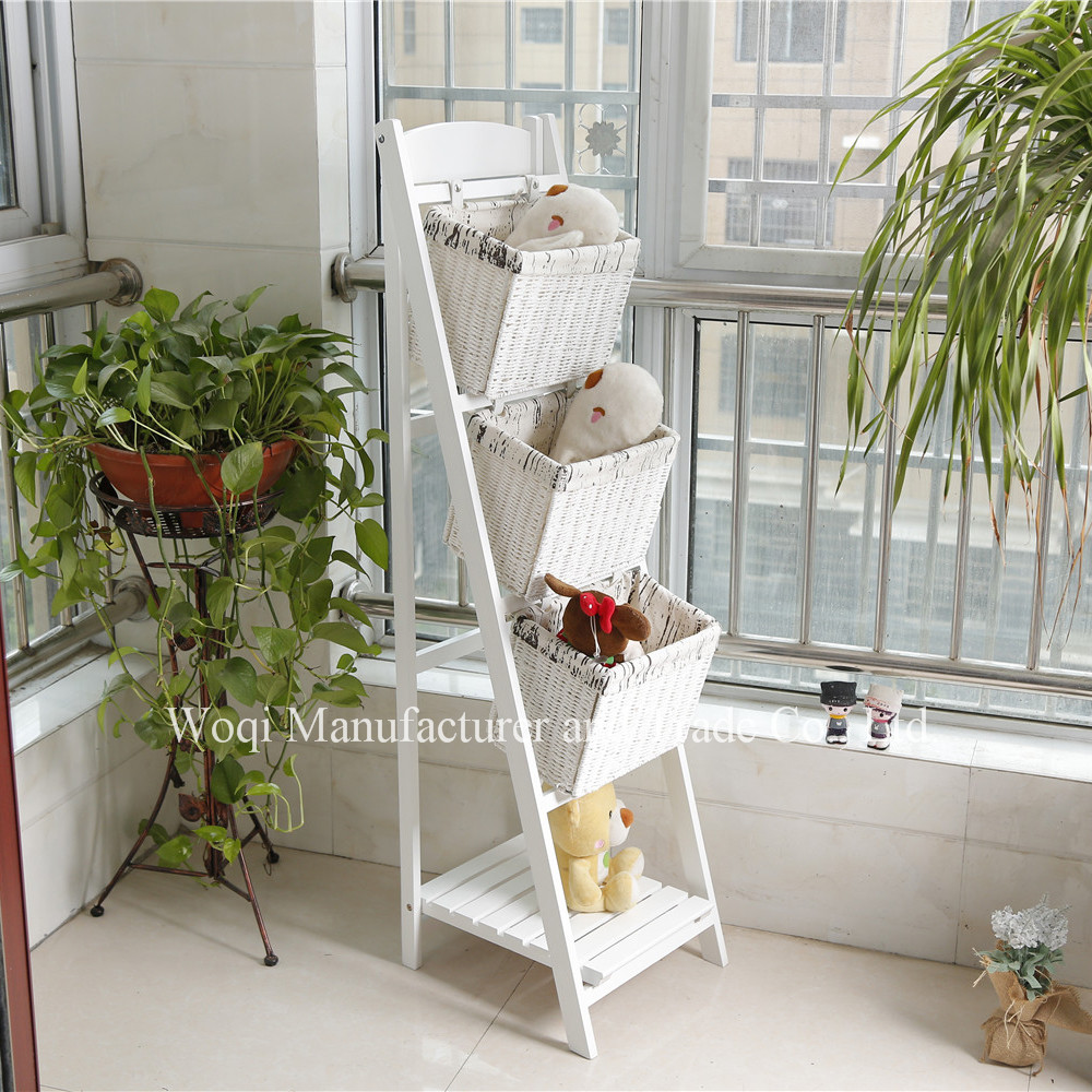 2017 High quality Wholesale Foldable wooden white woven wicker Cotton hanging Fabric wood laundry toy gift storage basket