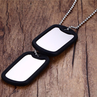 Stainless Steel Army Double Dog Tag Necklace Jewelry Personalized Custom Free Engrave stamped jewelry tags