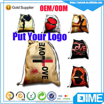 New fashion fabric made waterproof drawstring bag for shoe