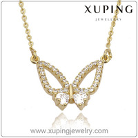 Latest Xuping Fashion Jewelry Gold Europe Butterfly Necklaces with 14k Gold Color