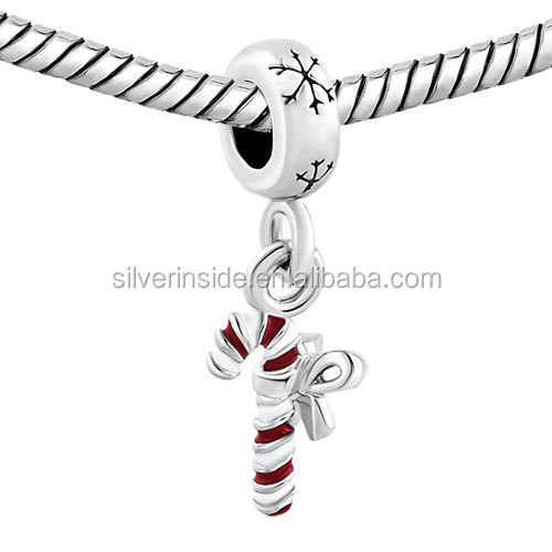 custom made charms wholesale Red Candy Cane Dangle Snowflake Charm Bracelet Spacers Bracelets For DIY Jewelry