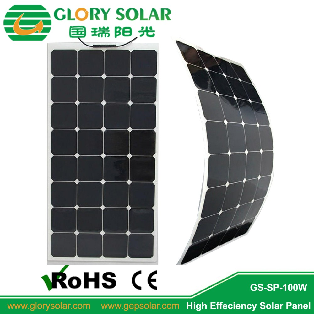 Anti Dumping free manufacturer 18volt 100W semi flexible solar panels for boat