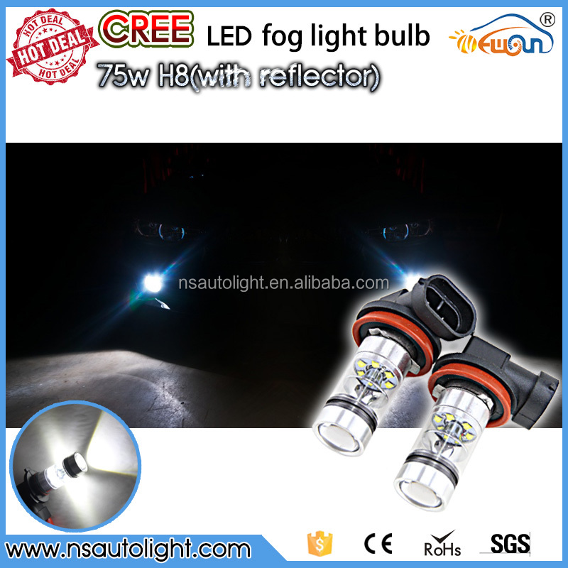 2015 New design! car light factory made super bright high power H8 H11 75W led fog light