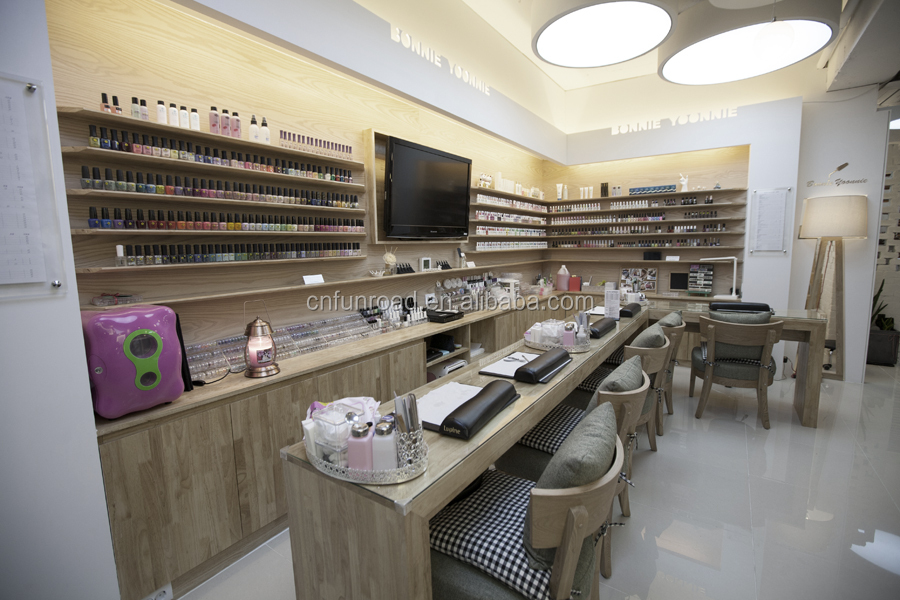 Wooden Nail Salon Store Equipment With Reception Counter Desk And ...