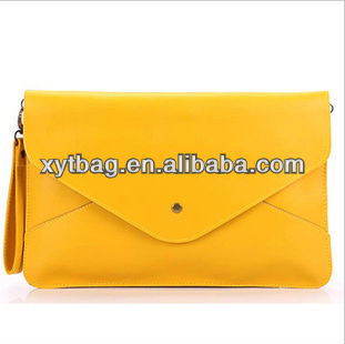 Bright pure color pu leather women's briefcase latch