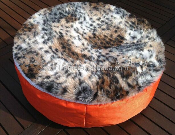 Living Room round dog bed with fur removable cover