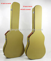 high quality wooden case for acoustic and classic guitar(nylon yellow line)