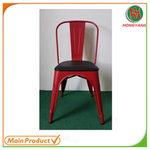 2017 Modern garden leather seat vintage iron metal dining chair with fixed cushion HY-H440B-U