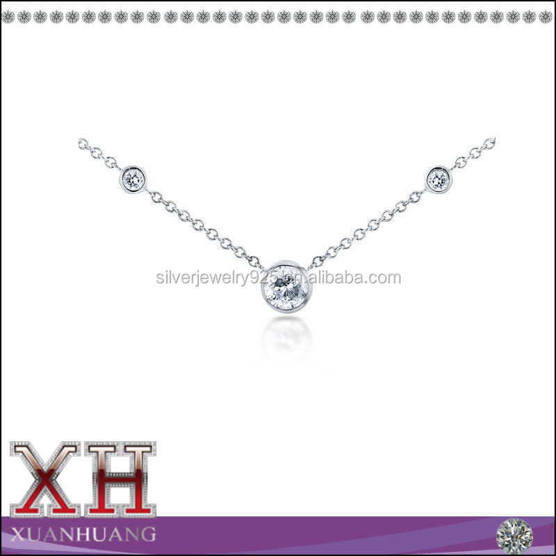 Cubic Zirconia Jewelry 925 Sterlilng Silver 3 Stone Necklace