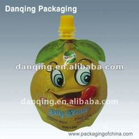 fruit shaped pouch with spout and cap,plastic packaging