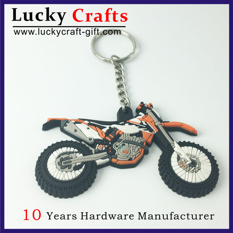 Wholesale Promotional Custom Shaped Motorcycles 3D Rubber Keychains